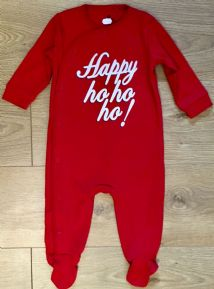 NEXT RED UNISEX BABY CHRISTMAS SLEEPSUIT 1M TO 6-9 MONTHS
